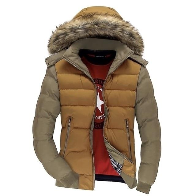 Casual Men Winter Warm Coat Jacket Hooded Man Down Jacket Parka Plus Size Contrast Color Men Parkas Zipper Outwear 62