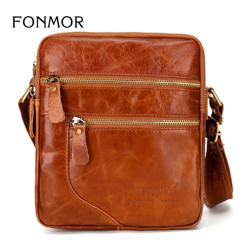Mens chest bag retro messenger bag oil skin orange clearance