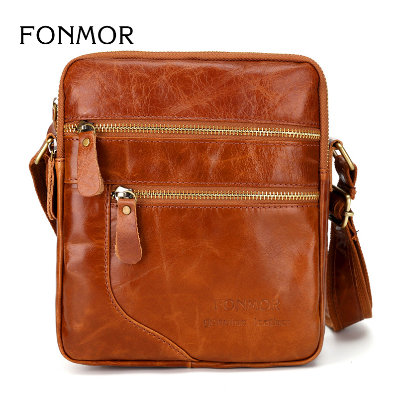 FONMOR New Leather Multi Functional High Quality Men Messenger Shoulder Bag Retro Petroleum Wax Bag Double