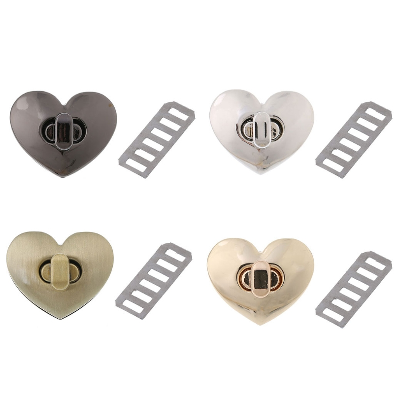 4 Colors Heart Shape Clasp Turn Lock Twist Lock Metal Hardware For DIY Handbag Bag Purse 2019New Fashion