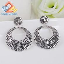 Free shipping 2015 New Arrival Bohemia Tibetan jewelry silver round retro vintage earrings alloy 1pair Women
