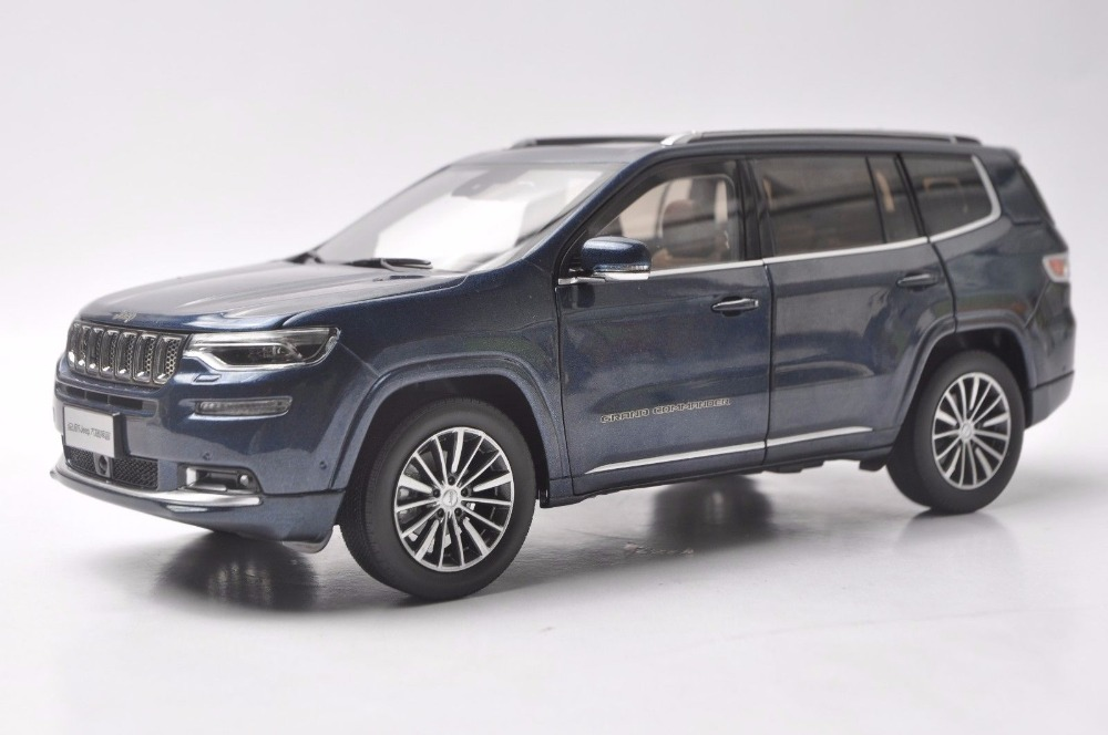 1:18 Diecast Model for Jeep Grand Commander 2018 Blue SUV Alloy Toy Car Miniature Collection Gift