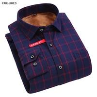 PAULJONES 2017 High Quality Autumn Winter Long Sleeve Velvet Printed Men Shirts Men S Plaid Casual