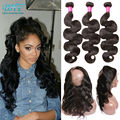 Pre Plucked 360 Frontal With Bundles 7A Unprocessed Human Hair With Frontal 360 Lace Frontal With Bundle Body Wave