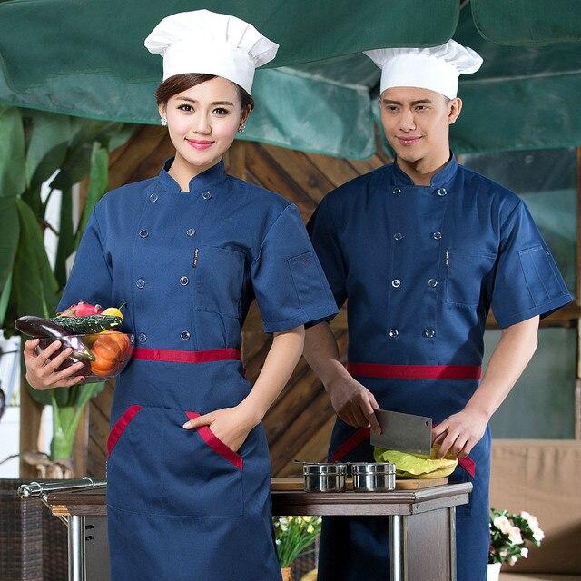 Musim Panas Pakaian Chef Alat Dapur Koki Lengan Pendek Seragam Restoran Barat Pria Dan Wanita Jaket
