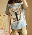 Новые летом 2016 Японский Мори девушка деревья печать проставляется ткань хлопок белье с коротким рукавом Футболки топы G369