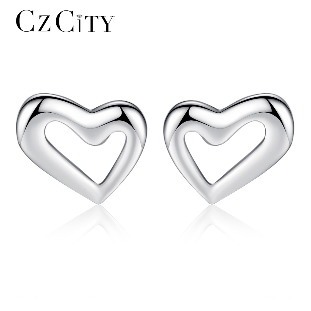 CZCITY Simple Hert 925 Sterling Silver Stud Earrings For Women Classic Cute Girl's Korean Earring 2018 Delicate Fine Jewelry