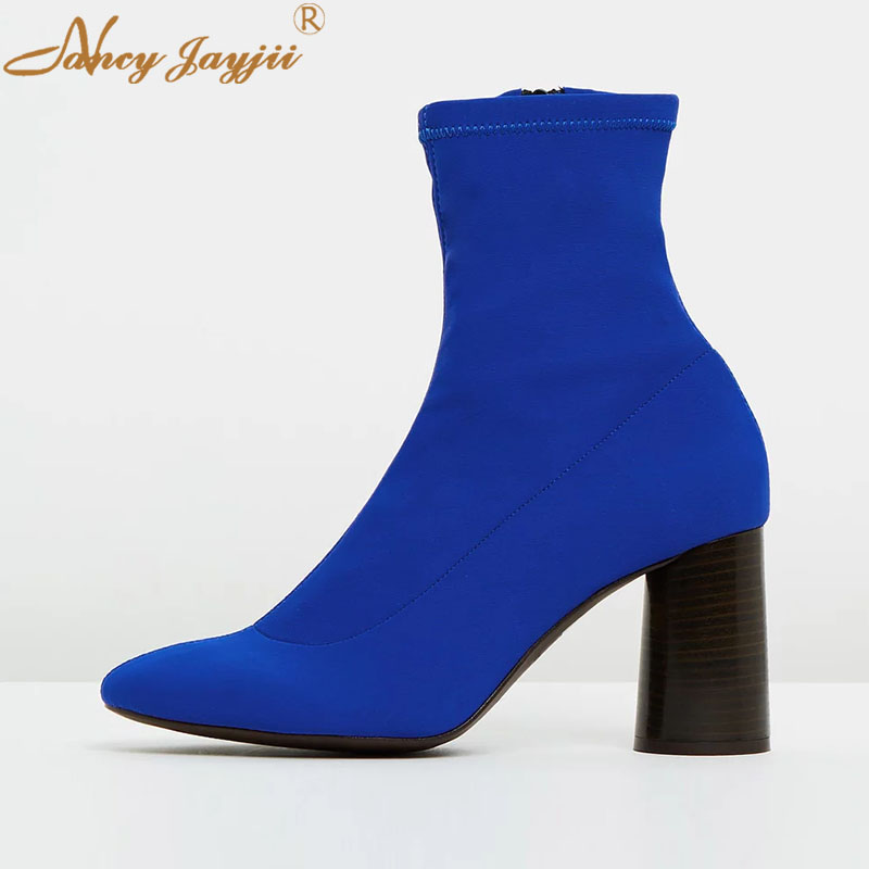 Schuhe Stretch Erwachsene Nancyjayjii Concise Quadratische Zipper 2019 Hohe Reife Heels Stoff Stiefel Ty01 Runde Frauen Damen Ankle Kappe Super wBqrXaBE