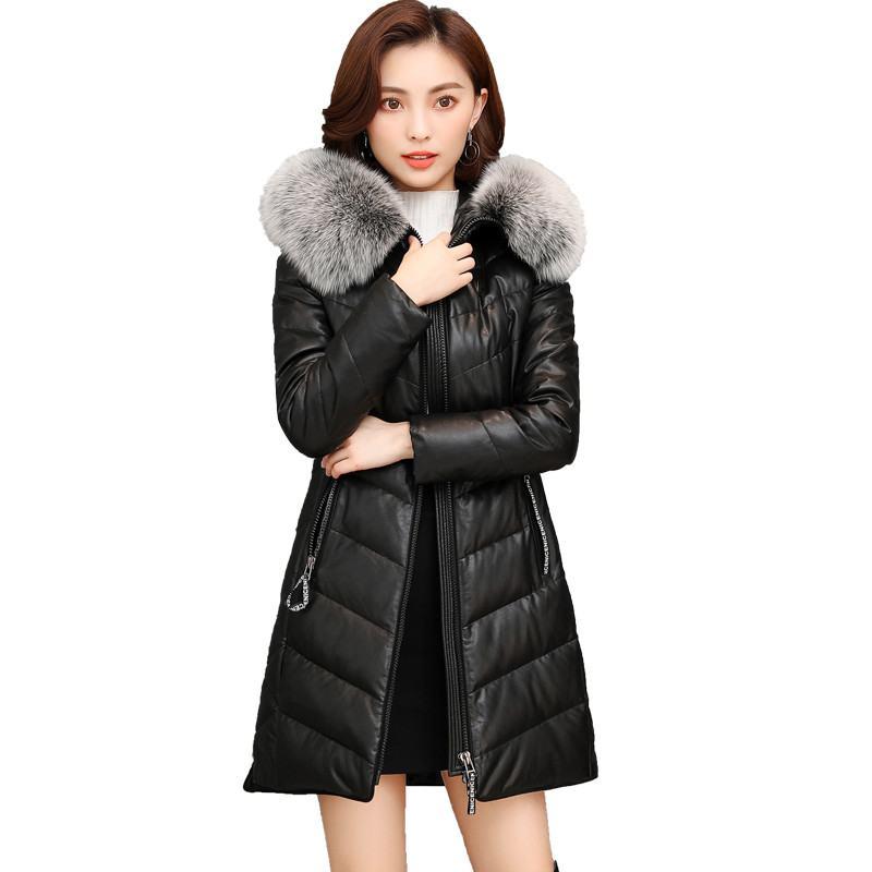 2019 Hiver Véritable Veste En Cuir Femmes Duvet de Canard Veste Femelle de Renard Col De Fourrure Plus La Taille 5XL Long Manteau Vestes En Peau de Mouton w31