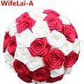 Cheap Casual Stitch Bouquets Colorful Satin Rose Bridal Bouquets Half Ball Ribbon Holding Artificial Flower Wedding Bouquet W123