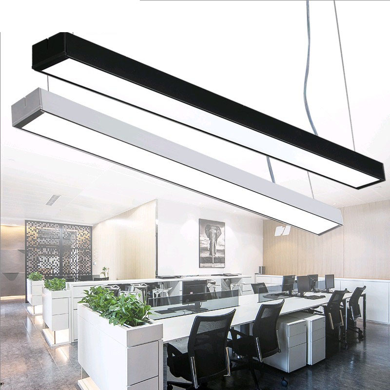 Office chandeliers led strip lights office building creative aluminum chandeliers rectangular hanging line lamps led fixture modern office light pendant lights simple led office long strip aluminum rectangular commercial lighting market ultra thin lamps
