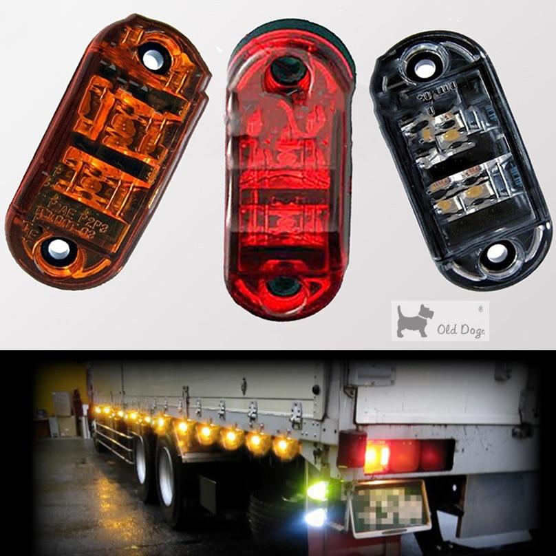 Wholesale 12V 24V Truck Signal Light 2 LED Side Marker Blinker Trailer Side Lights Clearance Lamp Car Truck Trailers Universal