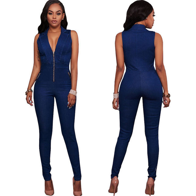 c17b98a293a Womens Jeans Jumpsuits Denim Long Pants Sexy Deep V Neck Slim Overalls  Jumpsuit Girl Sleeveless Club Wear Bodysuit Romper Zipper