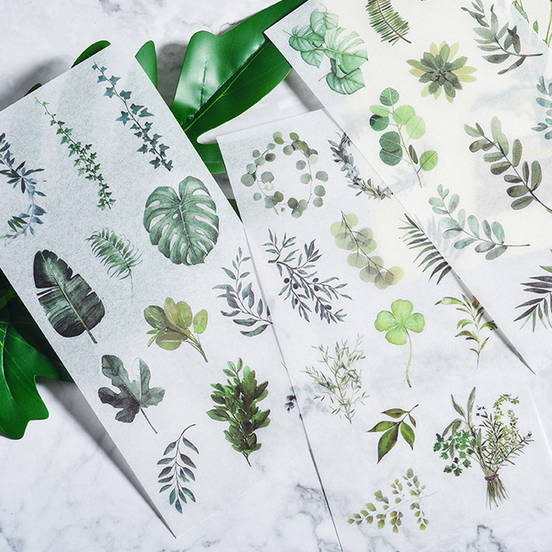 3 Pcs/lot Green Leaf Sticker Cute Plant Decoration DIY Diary Scrapbooking Label Stickers Stationery Gift School Supplies