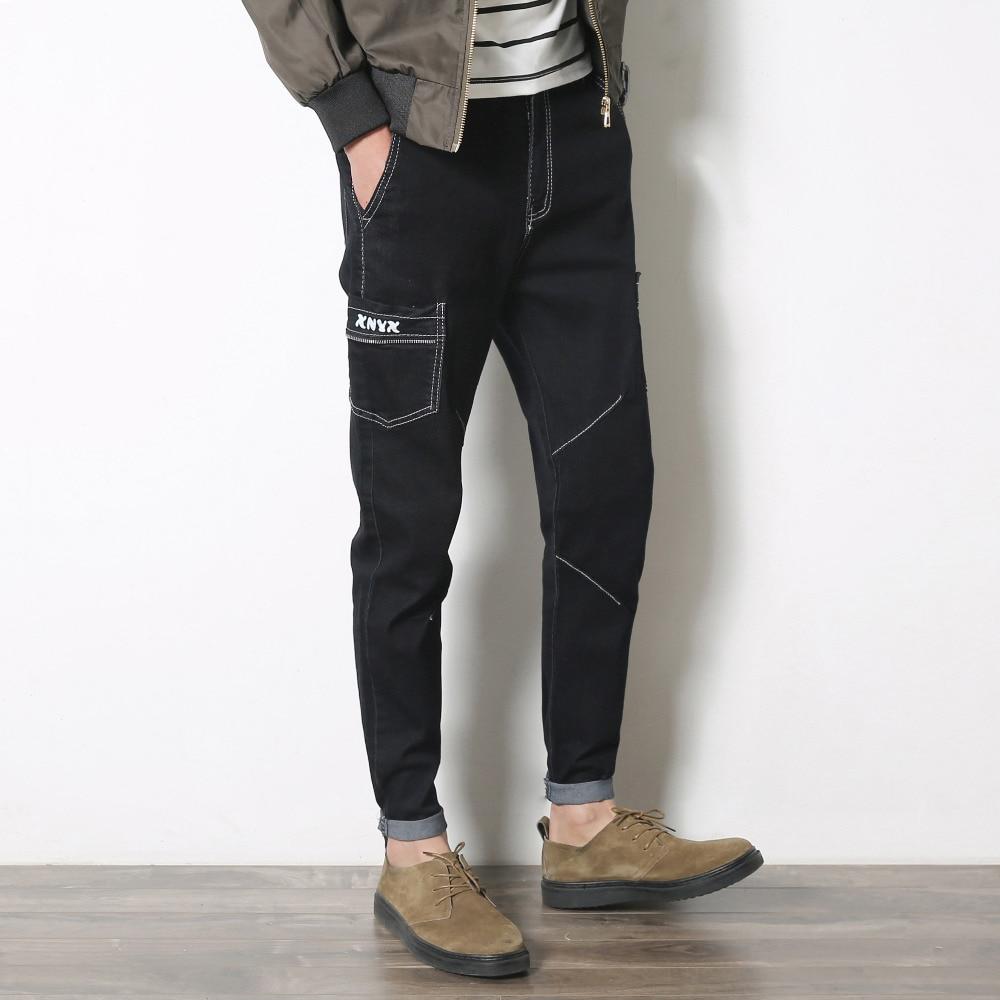 Spring 2017 Fashion Men Jeans Black Denim Pants Slim Fitted Cargo Style Pant Man Casual Full Length Men Trousers Biker Jeans Men бп atx 500 вт exegate atx500 ppx ex221641rus