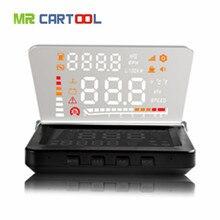Mr Cartool 4 Inch Car Head Up Display Auto HUD Projector ODB2 OBD II 2 Vehicle Speeding Warning MPH with Anti-slip Pad Fuel E260