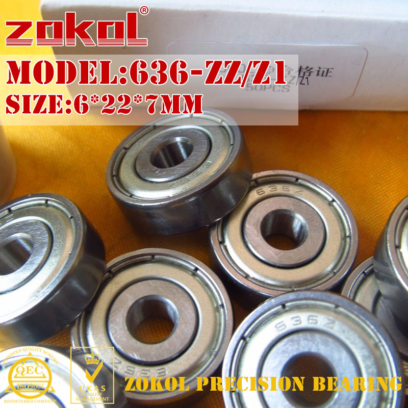 ZOKOL 636 ZZ Z1 Bearing 636zz 636ZZ Z1 80036/Z1 Miniature 636-ZZ Z1 Deep Groove Ball Bearing 6*22*7mm