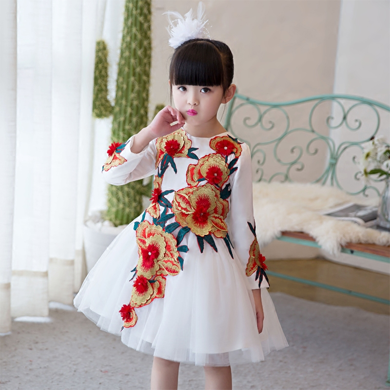 2017 New Arrival Children Girls Embroidery Flowers Princess Dress Spring Long Sleeves Red White Wedding Birthday Party Dresses new arrival children s dress summer spring fall girl princess dress 100% cotton short sleeves girls dress 4 9y