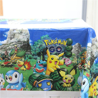 10pcs Lot Happy Birthday Party Tablecover Pokemon Go Cartoon Theme Tablecloth Kids Favors Baby Shower Decoration