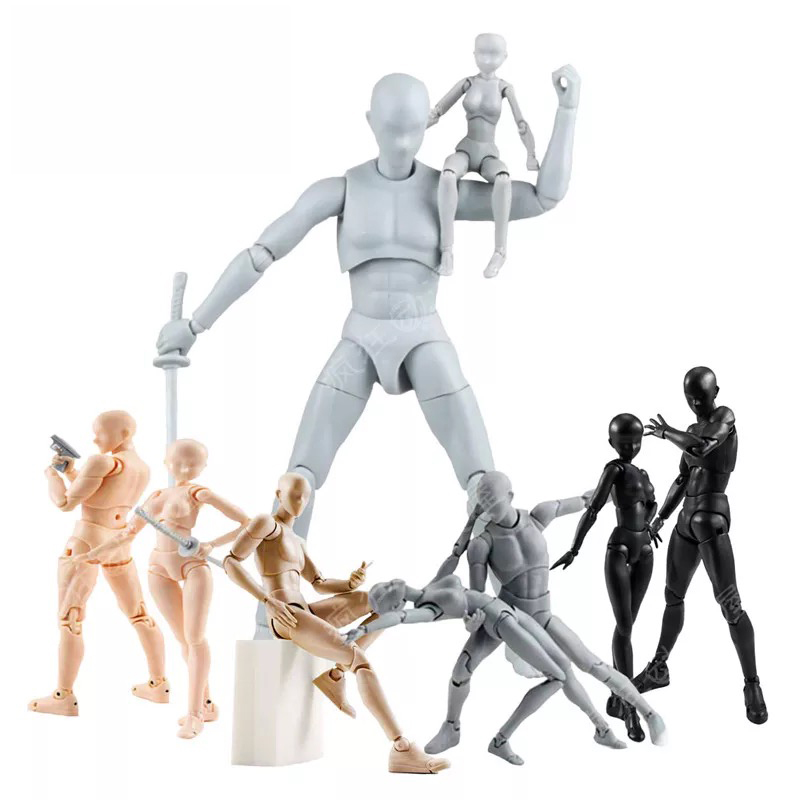 High-quality Anime Archetype He She Ferrite Figma Movable BODY KUN BODY CHAN PVC Action Figure for Collectible Model Toys 10 style 3d body chan body kun figure pale gray color figma shfiguarts ferrite pvc action figures