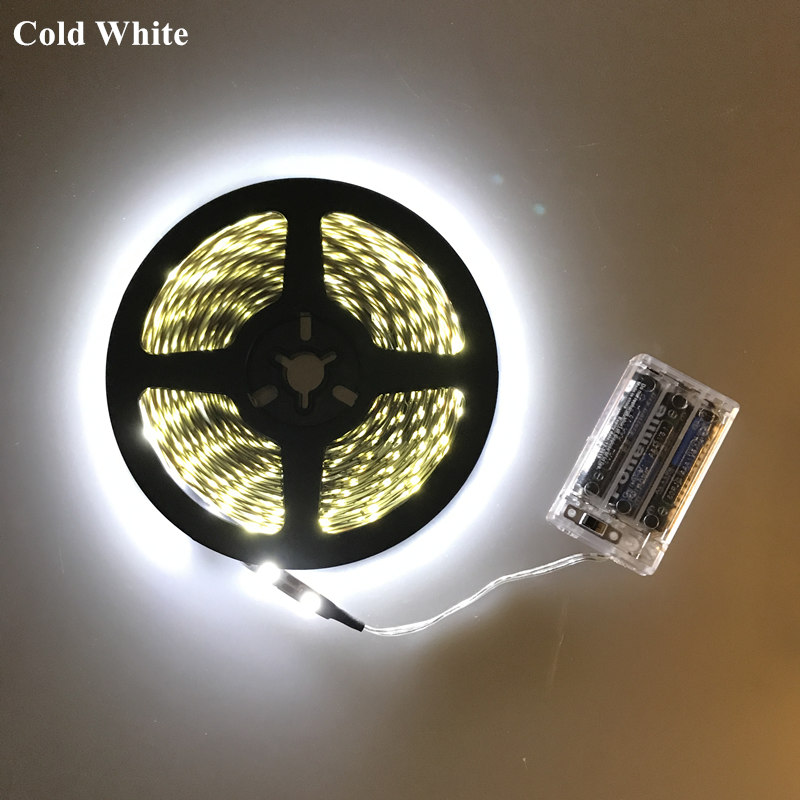 5V Battery Powered 2835 3528 LED Strip Light TV Backlight Lamp Cool Warm White Flexible Rope Tape Cold White 1m/2m/3m/4m/5m/50cm