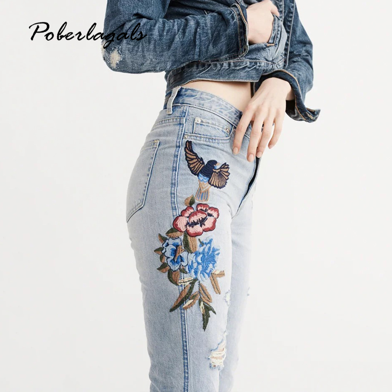 Denim embroidery jeans woman bottoms 2017 summer high waist Embroidered washed female Casual light blue jeans pants capris women fashion flowers embroidery jeans woman blue casual pants capris 2017 spring summer denim jeans female bottom trousers clothing