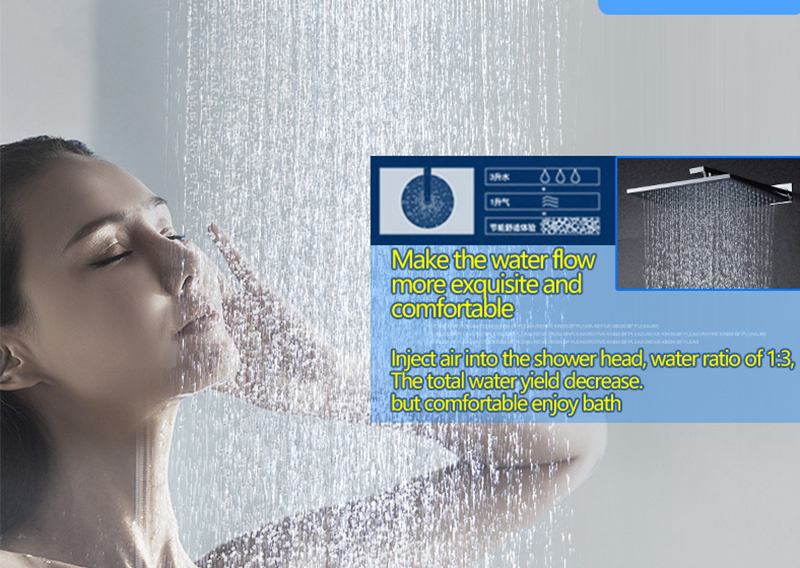 DCAN Bathroom Luxury Rain Mixer Shower Combo Set Wall Mounted 10'' Rainfall Shower Head System Polished Chrome (8)