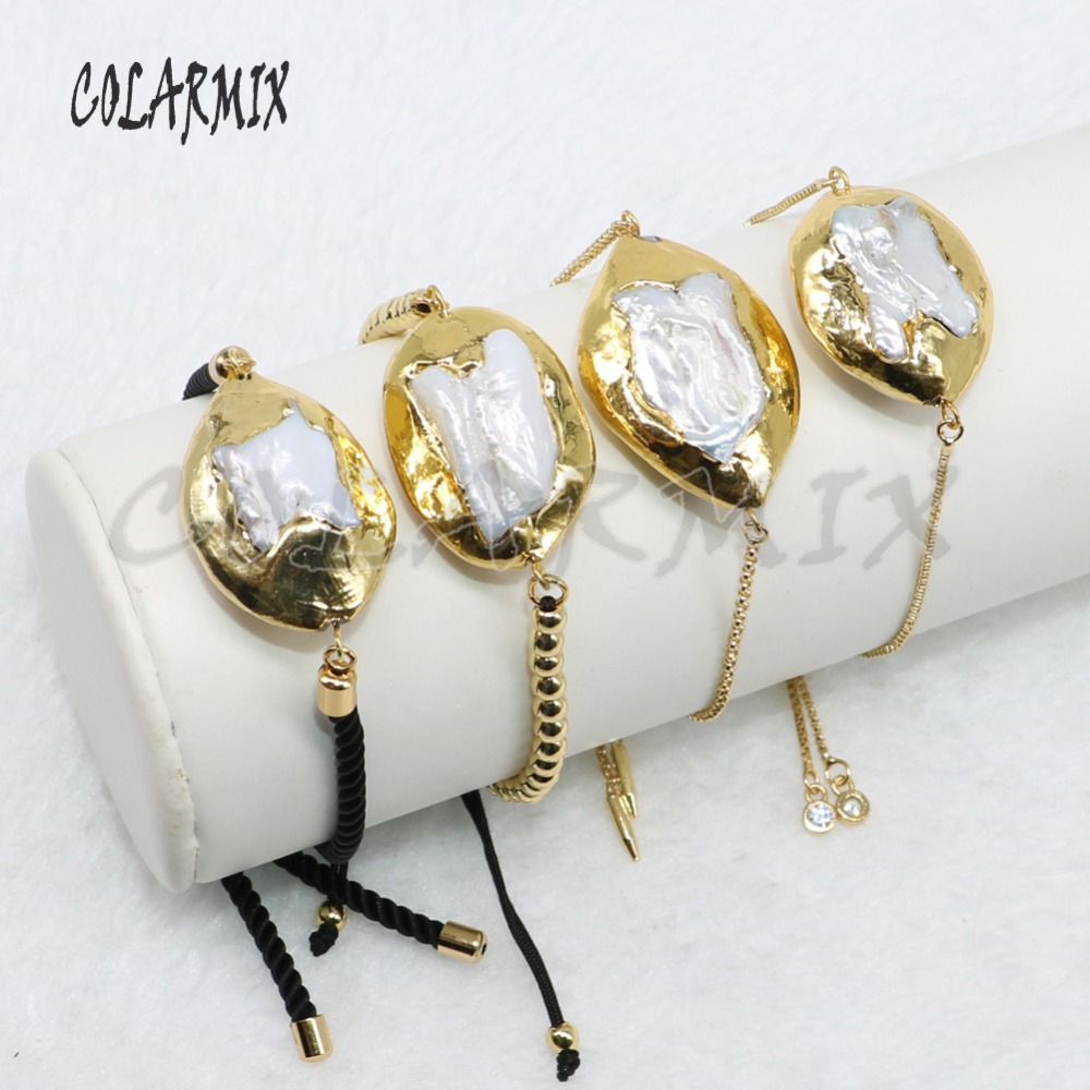 8 Pieces mix shape oval Gold color pearls bracelet natural pearls bracelet chain bracelet fashion gift