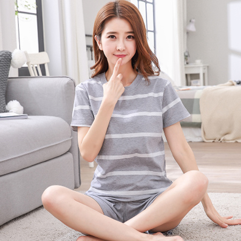Fashion Cotton   Pajamas     Set   Women Pyjamas Comfortable Pijama Female Sleepwear Girl Short Sleeved Household Suit Clothing   Set   2018