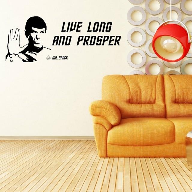 Plus size star trek spock leonard nimoy live long and prosper vinyl wall art sticker quote