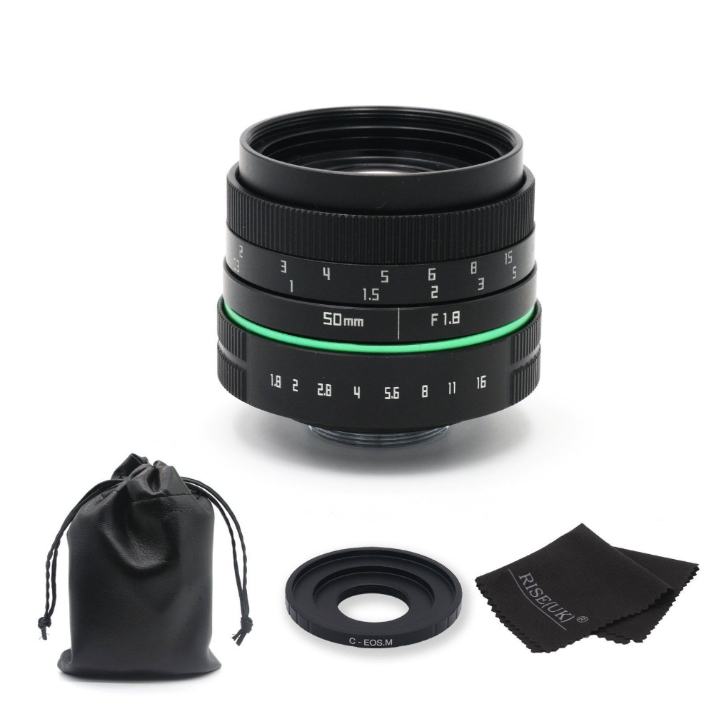 ФОТО New green circle 50mm f/1.8 C mount CCTV camera Lens(V2) for Canon EOS M EF-M Mirrorless Camera