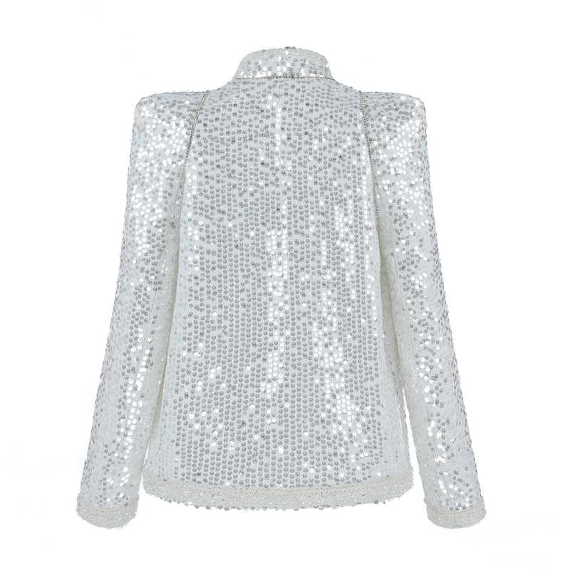 Col Formelle Broderie Manteau Color down À Perles Manches Longues Picture Beateen Turn Courts Hauts Paillettes Fashhion xpF5Rz
