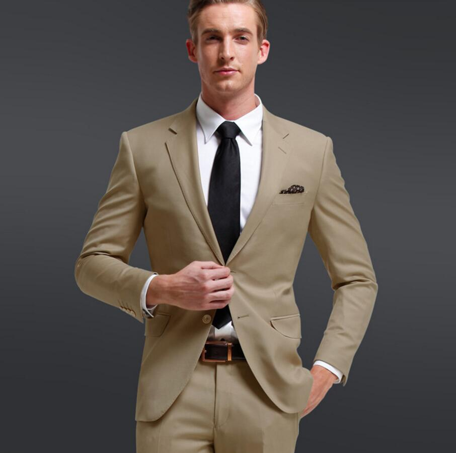 New Custom Made Khaki Men's Wedding Suits Tuxedos Bridegroom Suits Groomsman Suit Formal Party Business Suits