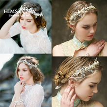 HIMSTORY Luxurious Pearl Tiara Bridal Floral Leaves Branch Headband Crystal Wedding Hairband Hair Accessories