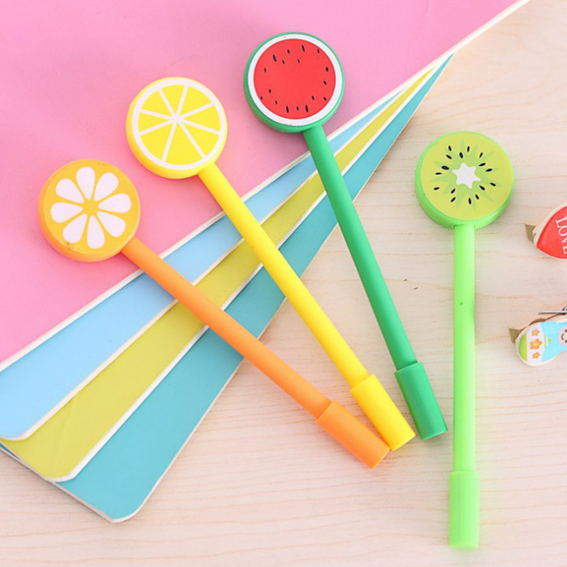 Cute fruit lollipops gel pens for writing Watermelon Lemon 0.5mm black Sign Pen for students Stationery office school supplies