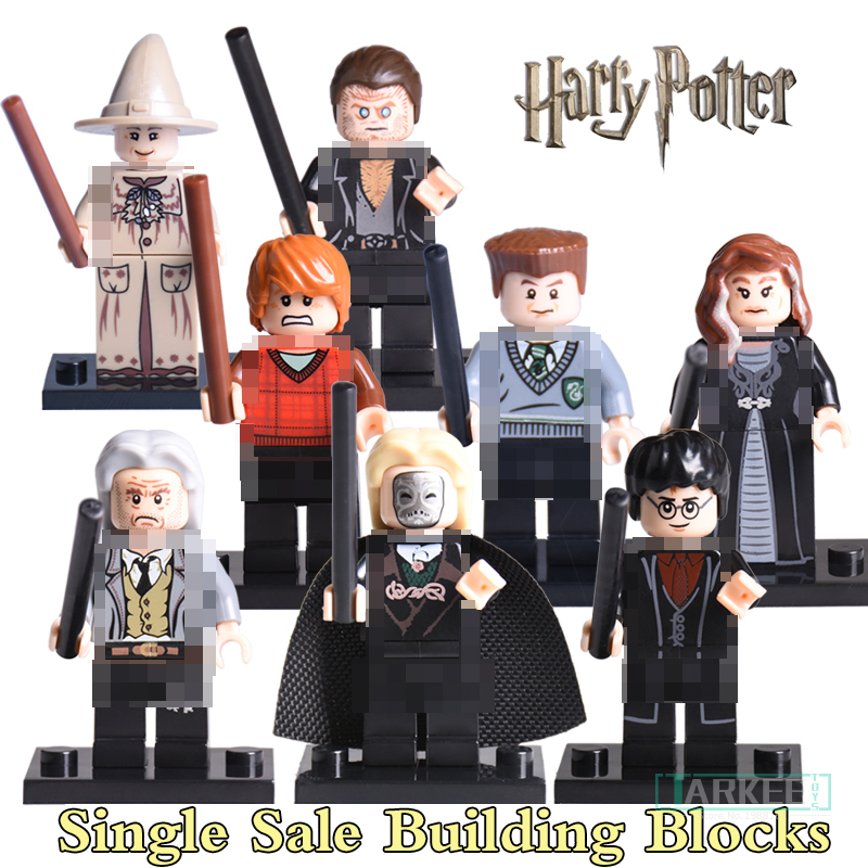 Building Blocks Harry Potter Ron Weasley Professor Sprout Malfoy Argus Filch diy figures Super Hero Bricks Kids DIY Toys Hobbies harry potter ron weasley gregory goyle lucius malfoy argus narcissa professor sprout figures bricks toys for children kl9002