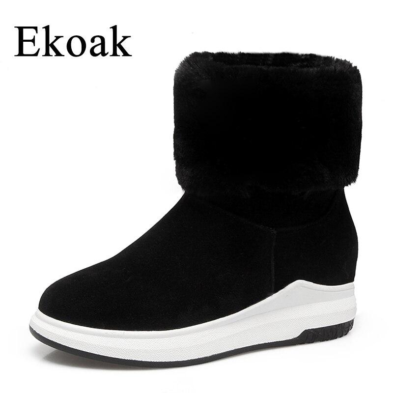 Ekoak Warm Plush Women Snow Boots Fashion Flock Ankle Boots Ladies Wedges Platform Boots Shoes Woman Rubber Boots ekoak new 2017 winter boots fashion women boots warm plush mid calf boots ladies platform shoes woman rubber leather snow boots
