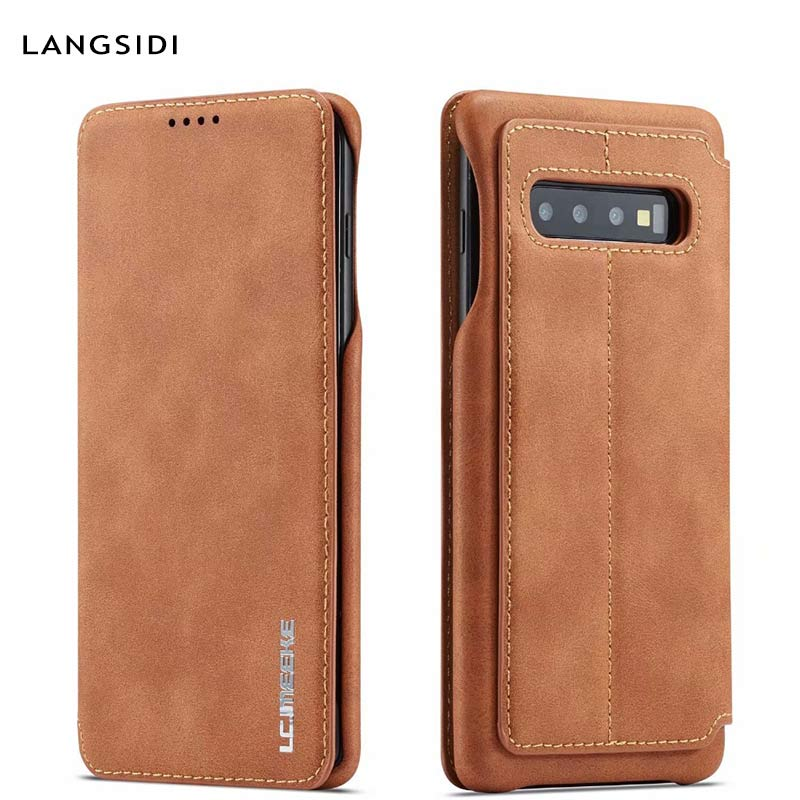 Luxury Flip Leather case For Samsung Galaxy s10 9 8 7 plus Shockproof Anti fall funda back Stand cover For Samsung Note 8 9 capa in Flip Cases from Cellphones Telecommunications