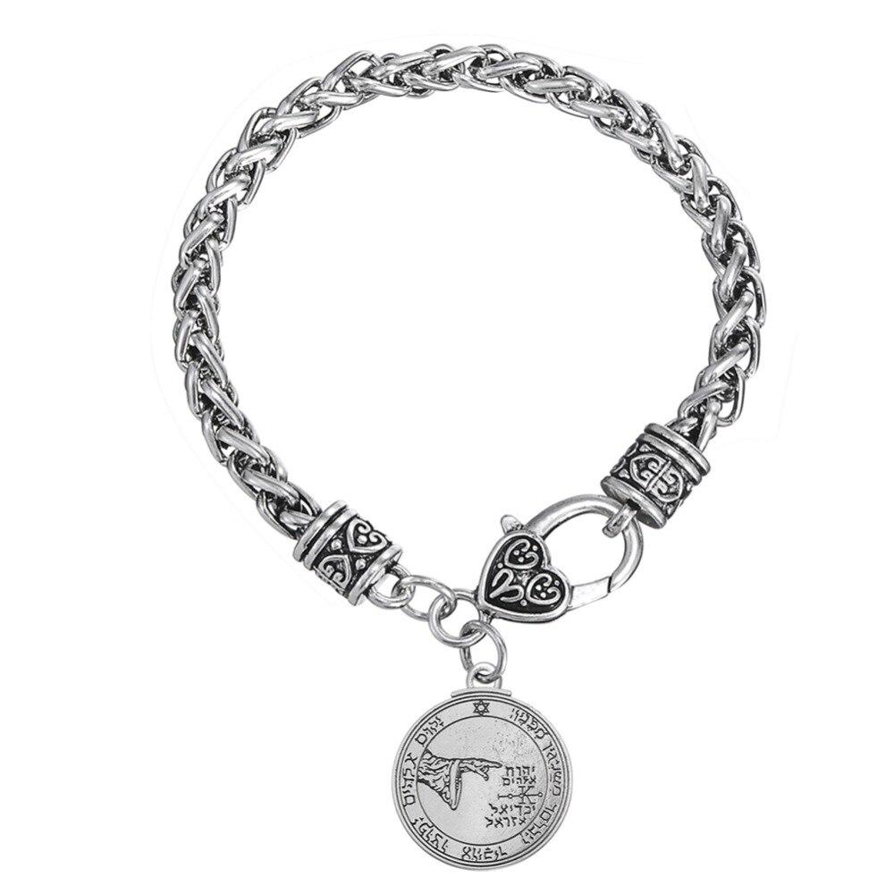 Skyrim Pentacle of the Moon Talisman Key of Solomon Seal Náboženské přívěsek Silný pšeničný řetízek náramek Srdce humra spona