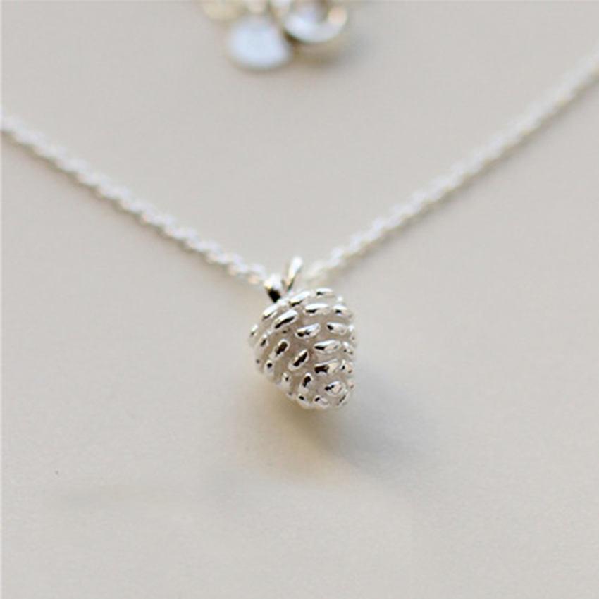 1Pc Real Pure 925 Sterling Silver Jewelry Cute Pine cone Necklace Minimal Statement Necklace Pendant collar de plata
