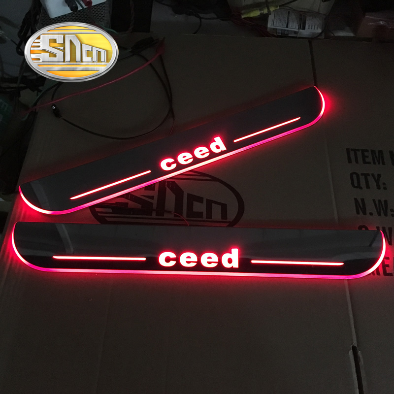 SNCN Waterproof Acrylic Moving LED Welcome Pedal Scuff Plate Pedal Door Sill Pathway Light For Kia Ceed 2013 2014 2015 2016 2017 fsylx led door moving scuff welcome pedal door sill plate light for audi q3 2013 2015 white led pedal light for q7 2006 2015