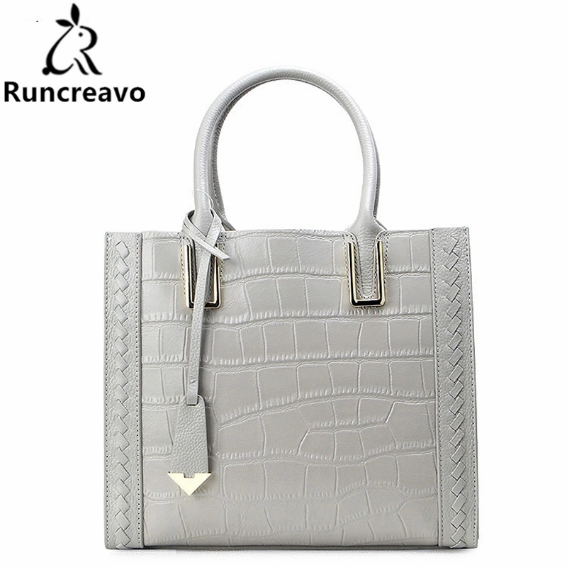 Runcreavo Genuine Leather Bag Handbags Women Luxury Designer Alligator real leather bag ladies Women Messenger Bag Shoulder Bags недорго, оригинальная цена