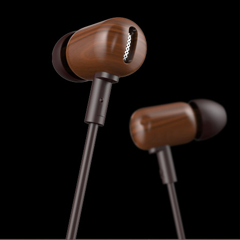 Super Bass Wooden Earphones In-ear Headset Fone De Ouvido 3.5mm plug with Microphone for Sony Xiaomi HTC IOS Android
