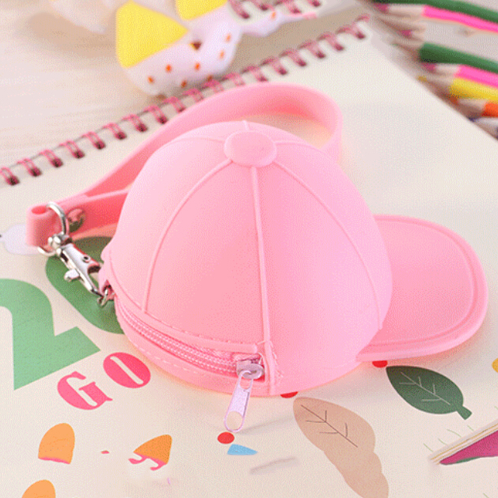 1pc Silicone Hat Shape Office Desk Clip Holer Zipper Clips Storage Accessories Pink Color Student Creative Gift 11*8.2*7.5 Cm Without Return Desk Accessories & Organizer