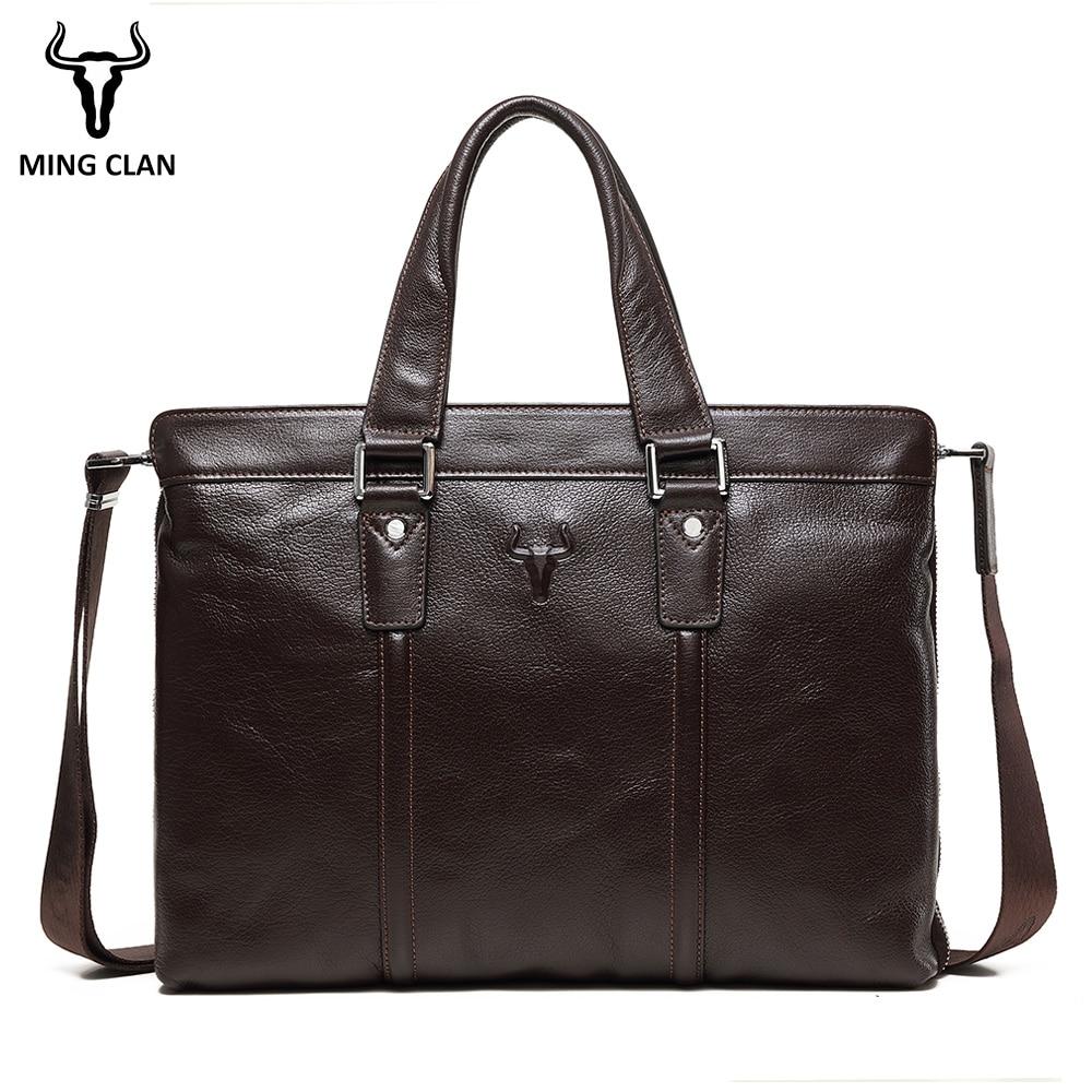 Brand Genuine Leather Business Briefcase Laptop Handbag Men Shoulder Messenger Bag Briefcase High Capacity Crossbody Travel
