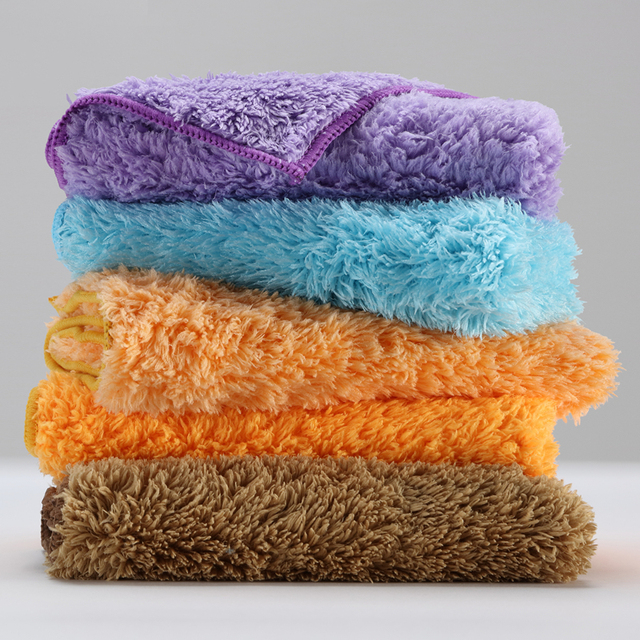 5 pcs Plush Microfiber cloth household cleaning cloth better than cotton kitchen towels micro fiber towel kitchen towel thick