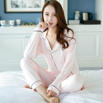 QWEEK Autumn Women Cotton Pajamas Sets Long Sleeve Sleepwear Set Two-pieces Breathable Pyjamas Homewear Female Nightwear Пижама