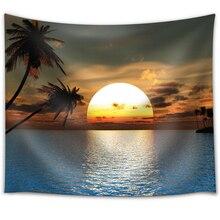 Papa y Mima Paisajes de Playa Sunset Lámina India Tailandia Poliéster Tapicería de La Pared 148×130 cm 58×51 pulgadas Mantas alfombra Decorativa
