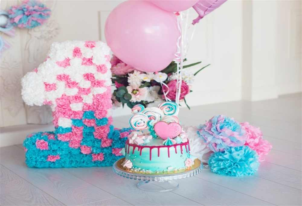 Laeacco Photo Backgrounds Happy Baby 1 Birthday Party Cake Balloon Flower Interior Photography Backdrops Photocall