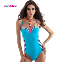 Faerdasi Striped One Piece Swimsuit Women Halter One Piece Bathing Suit Blue Swimwear Bandage Beachwear Retro